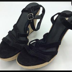 Women's Black Wedge Sandals Size 9.5